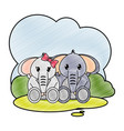 grated elephant couple cute animal in the vector image vector image