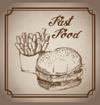 hand drawn burger and french fries fast food vector image vector image