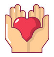 hand heart icon cartoon style vector image vector image