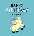 happy birthday lettering party with pony vector image