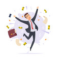 happy businessman jumping professional successful vector image