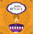 happy diwali festival diya lamp candle flame vector image vector image
