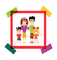happy family in paper frame photo vector image