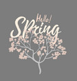 hello spring card with cherry blossom spring vector image vector image