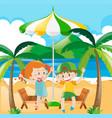 kids having fun on the beach vector image vector image