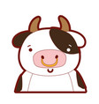 Line color adorable and happy cow wild animal