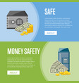 metallic safe box with money posters vector image vector image