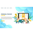online personal teacher website landing vector image