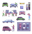 parking flat icons collection vector image