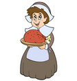pilgrim woman with roast turkey vector image vector image
