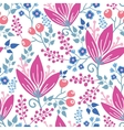 Pink flowers seamless pattern background vector image vector image