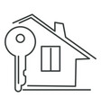 private house and key real estate isolated linear vector image