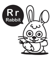 R Rabbit cartoon and alphabet for children to vector image vector image