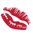 red lips imprint vector image vector image