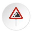 rockfall traffic sign icon circle vector image vector image