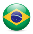 Round glossy icon of brazil vector image vector image