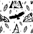 seamless pattern with mountains and eagles vector image vector image