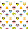 seamless pattern with owls sun and palm tree vector image