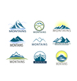 Set of logo Icon Montains in color Climbing label vector image