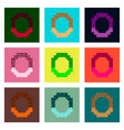 set pixel icons of pretzel vector image