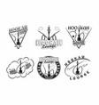 set vintage hookah lounge emblems designs vector image vector image