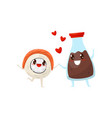 sushi roll and soy sauce bottle are friends vector image vector image