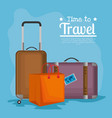 time to travel suitcases vector image