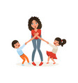 tired mother with her capricious children vector image vector image
