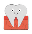 tooth dental symbol cartoon smiling vector image