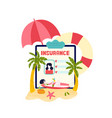 travel insurance for tourists on vacations vector image vector image