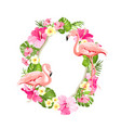 tropical flower frame for your card design vector image vector image