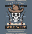 wild west skull in hat and revolver vector image