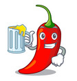 with juice hot chili pepper on cartoon table vector image