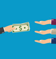 many hands reaching out for money vector image
