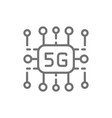5g internet technology wireless chip line icon vector image