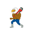 American Bald Eagle Plumber Monkey Wrench Cartoon vector image vector image
