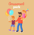 amusement park father with children isolated vector image vector image
