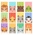 animal kids portrait lion penguin giraffe vector image vector image