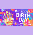 banner with birthday cake and candles vector image vector image