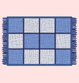 blue mat with fringe rectangular rug in the cell vector image