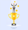 businessman standing on top trophy cup vector image vector image