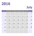 Calendar July 2016 week starts from Sunday vector image vector image