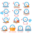 Clock Character Daily Routine timetable vector image