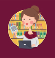 College Girl Student Studying in Library vector image vector image