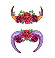 cow horns and sheep decorated with flowers vector image vector image