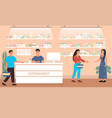 customers buying purchases in a supermarket vector image