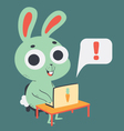 Cute Bunny in Front of a Computer vector image