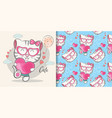 cute cat cartoon with pattern set vector image
