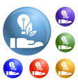 eco bulb care hand icons set vector image