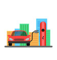 electric red car and electrical charging station vector image vector image